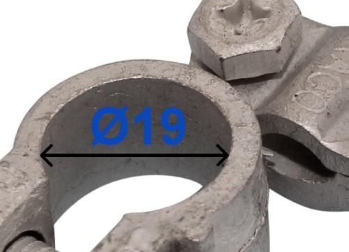 Batteri Polsko plus 19 mm højre vinklet 203001 Raco