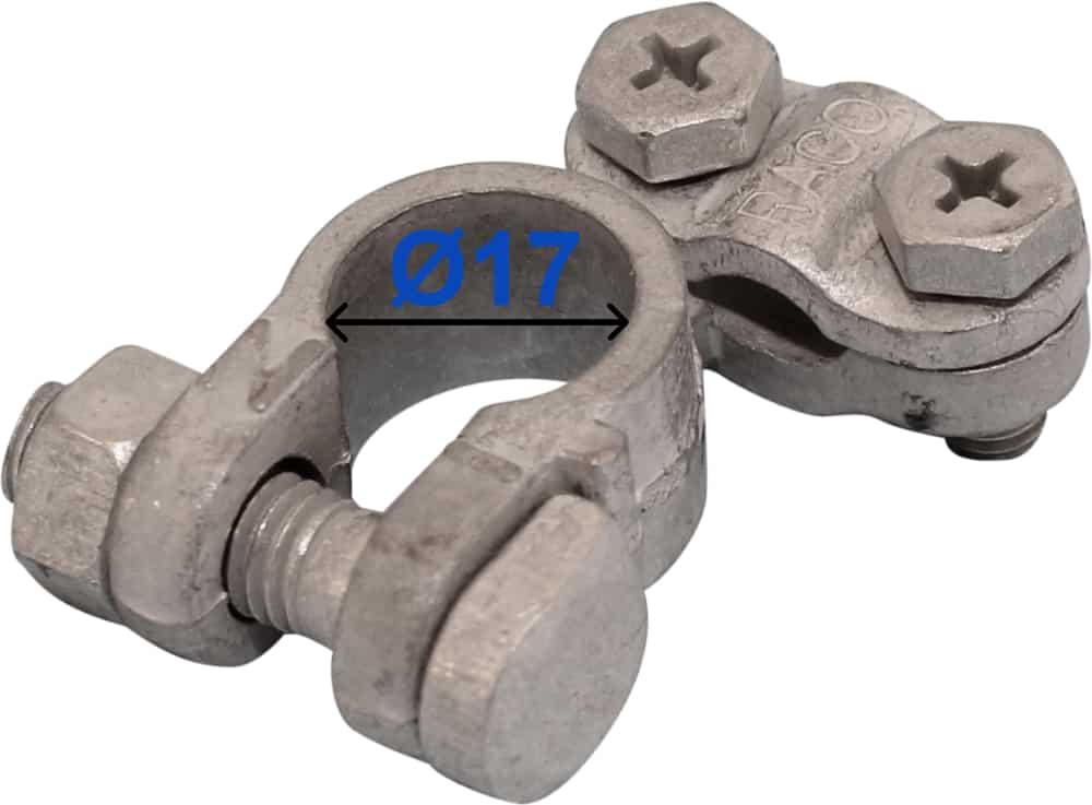 Batteri Polsko minus 17 mm højre vinklet 204001 Raco