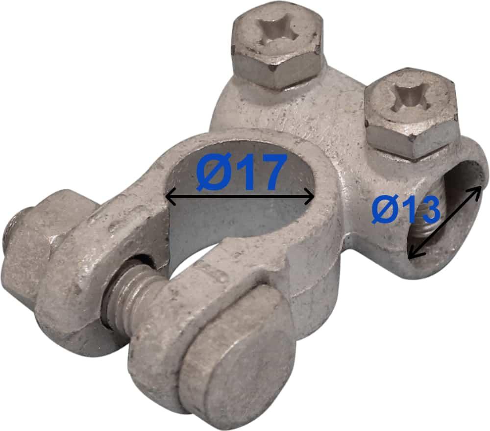Batteri Polsko minus 17 mm 13 mm kabel hul 208000 RACO