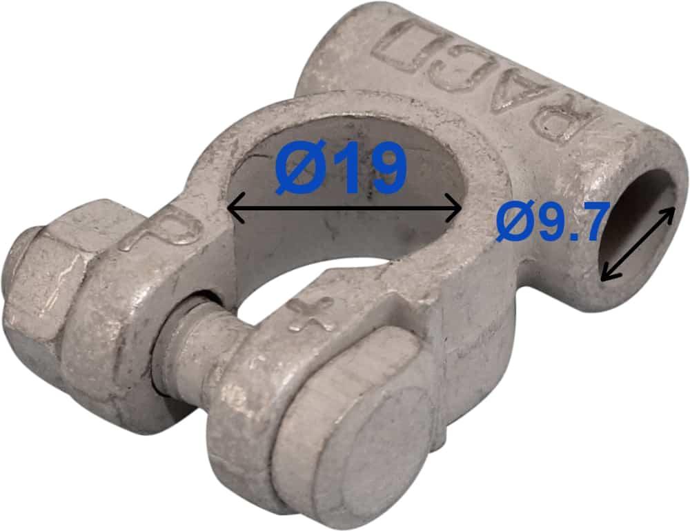 Batteri Polsko plus 19 mm 9,7 mm kabel uden rille 211501 RACO