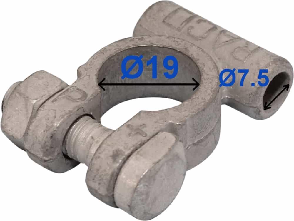 Batteri Polsko plus 19 mm 7,5 mm kabel uden rille 211502 RACO