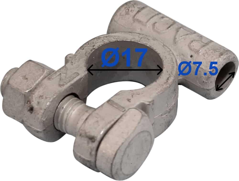 Batteri Polsko minus 17 mm 7,5 mm kabel uden rille 212502 RACO