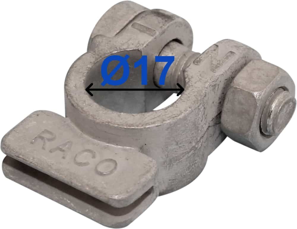 Battery Terminal Negative Minus 17 mm For earth straps 224500 RACO