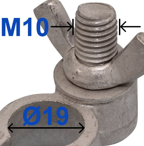 Battery Terminal Positive Plus 19 mm Bolt M10 x 22 mm With wing nut 227003 RACO