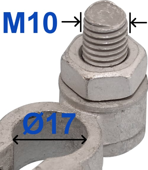 Battery Terminal Negative Minus 17 mm Bolt M10 x 22 mm 228000 RACO