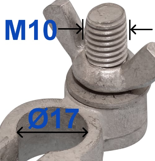 Battery Terminal Negative Minus 17 mm Bolt M10 x 22 mm With wing nut 228003 RACO