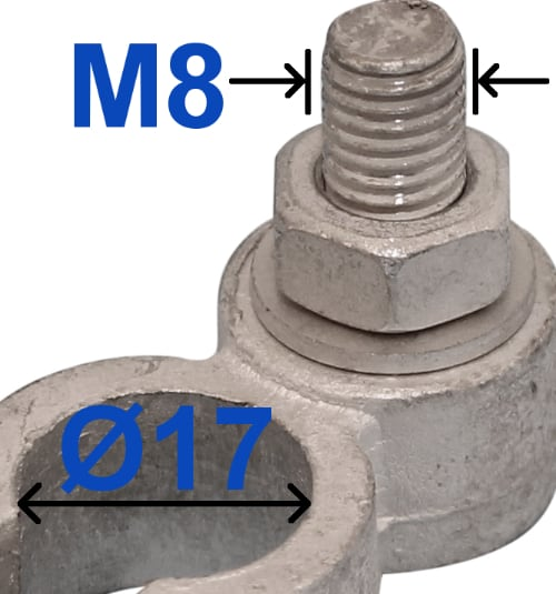 Battery Terminal Negative Minus 17 mm Bolt M8 x 22 mm 230000 RACO