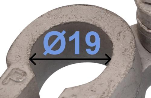 Batteri Polsko plus 19 mm højre vinklet Dobbeltklemme 237001 RACO