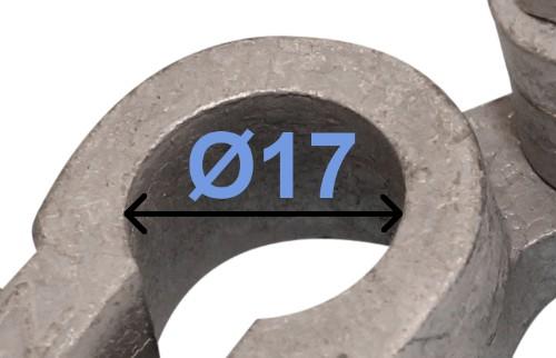 Batteri Polsko minus 17 mm højre vinklet Dobbeltklemme 238001 RACO