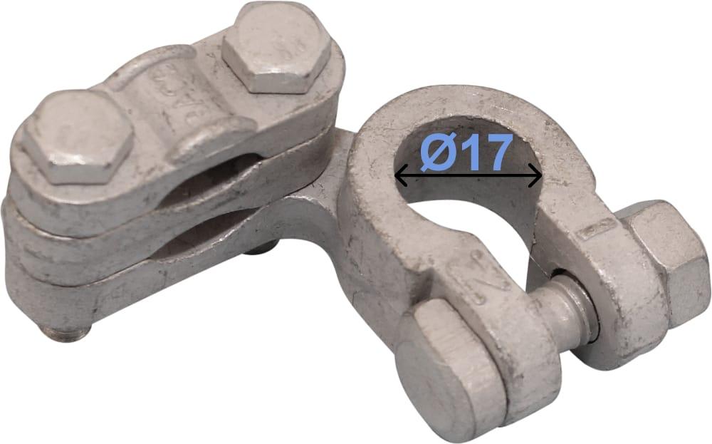 Batteri Polsko minus 17 mm venstre vinklet Dobbeltklemme 238002 RACO