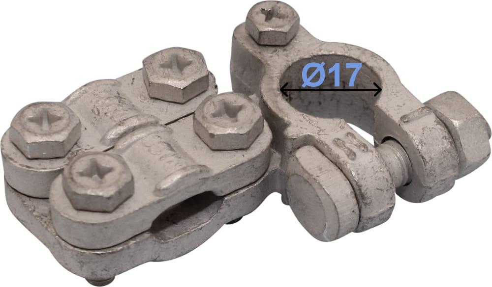 Batteri Polsko minus 17 mm venstre vinklet 5 mm skruetilslutning form K 240000 RACO