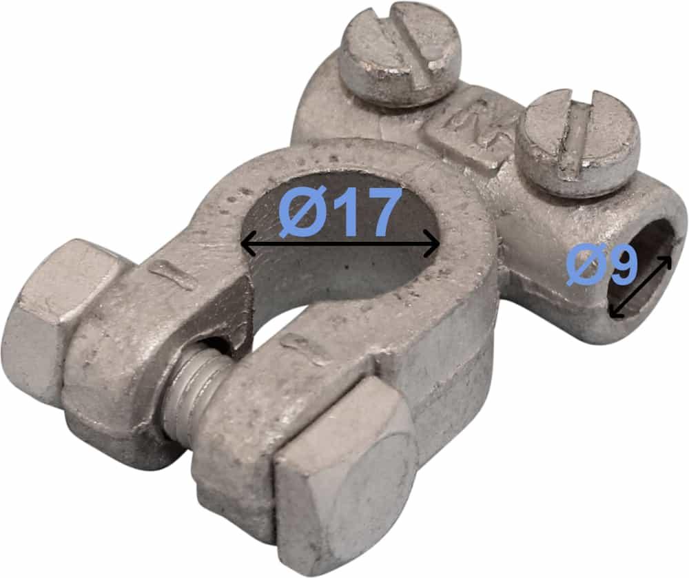 Batteri Polsko minus 17 mm 9 mm kabel hul DIN 72332 form B 246000 RACO
