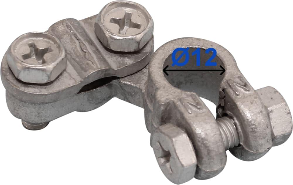 Batteri Polsko pol terminal klemme kabelsko klip - minus 12 mm venstre vinklet Fiat Mazda Suzuki bil lastbil motorcykel båd scooter camping traktor Messing fortinnet Mest brugt RACO 220000