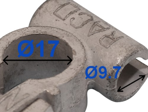 Batteri Polsko pol terminal klemme kabelsko klip - minus 17 mm Boring 9,7 mm bil lastbil motorcykel båd scooter camping traktor Messing fortinnet Lodde tilslutning med kabel rille RACO 212000 212500
