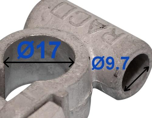 Batteri Polsko pol terminal klemme kabelsko klip - minus 17 mm Boring 9,7 mm bil lastbil motorcykel båd scooter camping traktor Messing fortinnet Lodde tilslutning uden kabel rille RACO 212501