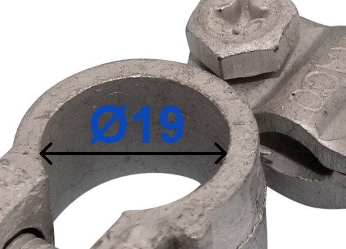 Batteri Polsko pol terminal klemme kabelsko klip + plus 19 mm højre vinklet bil lastbil motorcykel båd scooter camping traktor Messing fortinnet Mest brugt RACO 203001