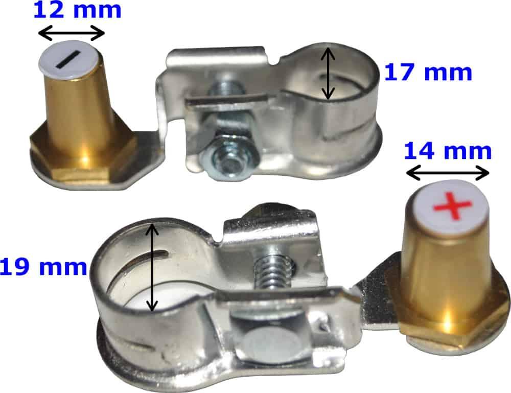 Batteri Polsko adapter konverter sæt pol terminal klemme kabelsko klip bil lastbil motorcykel båd scooter camping traktor Messing fortinnet RACO 265266